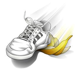 Sneaker slipping on a banana peel