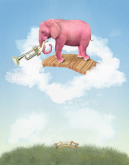 Pink elephant in the sky with a trumpet. Illustration