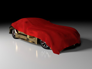Luxury gold car and red cloth
