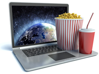 cola, popcorn and laptop. 3d image