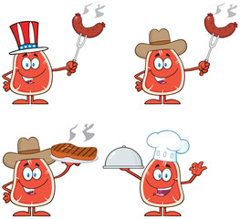 Steak Cartoon Character 2. Collection Set Isolated On White