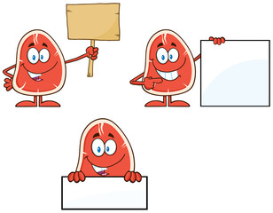 Steak Cartoon Character 4. Collection Set Isolated On White