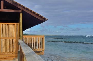 Wooden hut overlooking the sea