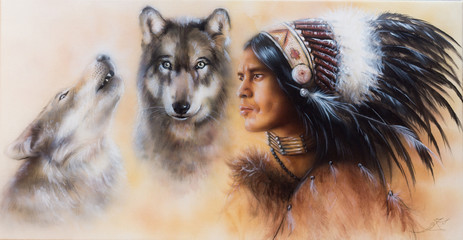beautiful airbrush painting of an young indian warrior accompani