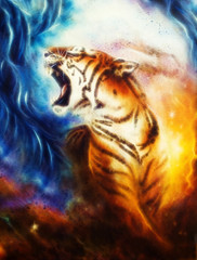 beautiful airbrush painting of a roaring tiger on a abstract cos