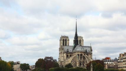 Notre Dame de Paris cathedral on a cloudy day