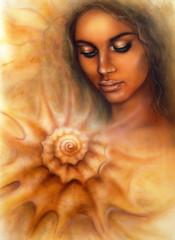 woman with closed eyes meditating upon a spiraling seashell
