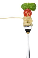 Spaghetti Pasta essen mit einer Gabel Freisteller