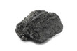 a piece of black coal on a white background