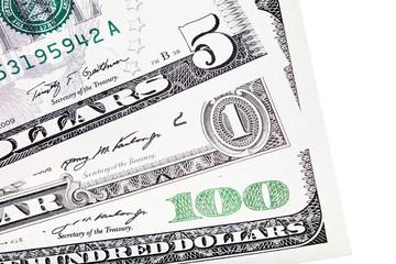 U.S. $ dollar money – stacked, isolated on white.