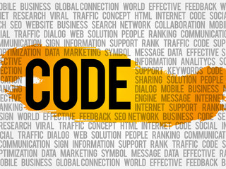 Code word cloud, business concept
