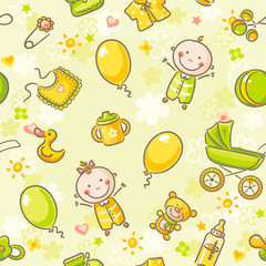 Seamless pattern with babies