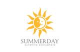 Sun Logo design vector. Day Night Sun Moon Logotype - 78188200