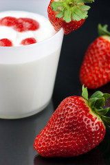 fresh yogurt's mousse with strawberry cream