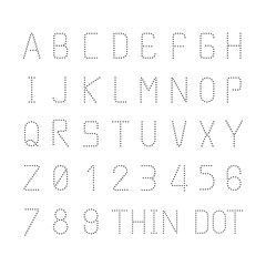Vector font thin dot alphabet character style design set