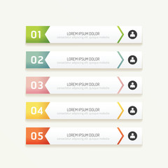 vector progress banners with colorful tags.