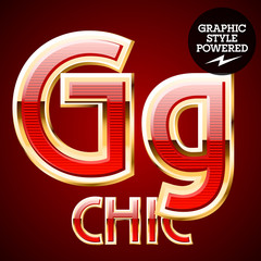 Red alphabet with golden border. Letter G