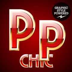 Red alphabet with golden border. Letter P