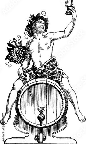 Papiers peints Vin Vintage Illustration Bacchus Dionysus
