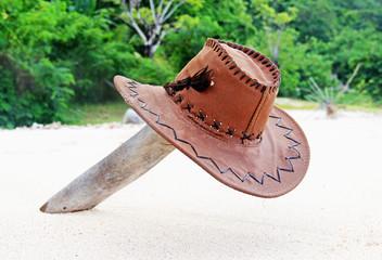 hat on a desert island