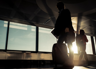 airport passengers silhouettes