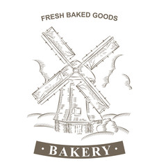 Vintage Windmill Logo Bakery design vector template. Hand drawn