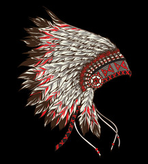 Native american indian chief headdress. Vector illustration