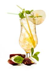 Cider cocktail garnished with a apple