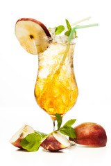 Cider cocktail garnished with a apple