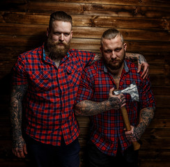 Two brutal huge males with beards