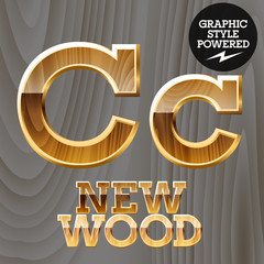 Vector set of wooden characters with gold border.  Letter C