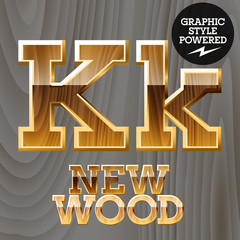 Vector set of wooden characters with gold border.  Letter K