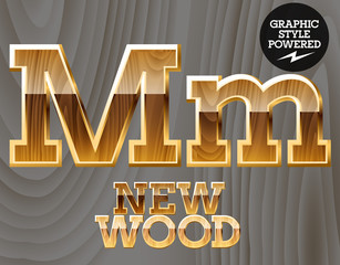 Vector set of wooden characters with gold border.  Letter M