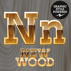 Vector set of wooden characters with gold border.  Letter N