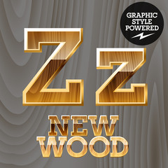 Vector set of wooden characters with gold border. Letter Z
