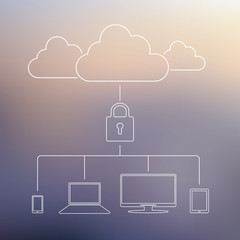 Cloud computing technology security concept. Data privacy