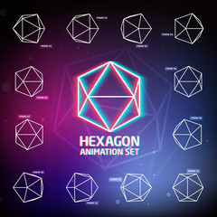 Vector Hexagon Animation Set for preloaders and presentations