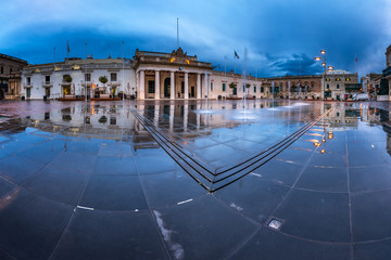Fountain and Saint George Square on the Rainy Morning, Valletta,