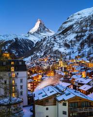 Aerial View on Zermatt Valley and Matterhorn at Dawn, Zermatt, S