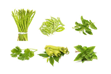 group of green vegetable ,herb and spicy