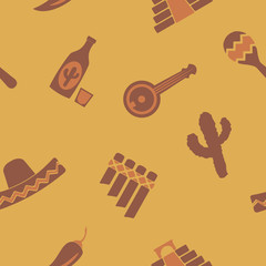 seamless background with symbols of Mexico