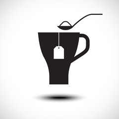 Pouring sugar in coffee or tea cup