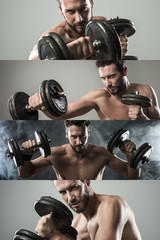 Weight training photo collage