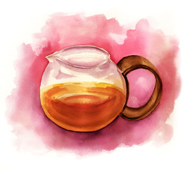 A watercolour drawing of a teapot with a distressed texture