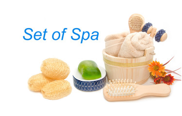 Wooden bucket with SPA and sauna accessories