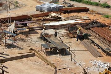 Reinforcement bar fabrication yard