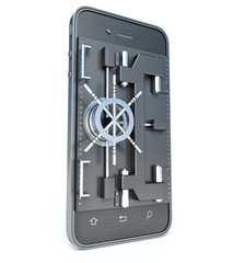 Mobile security concept. Smartphone with vault or safe door.3d