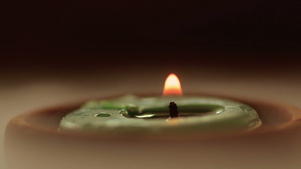 Close up spa aroma candle with fog