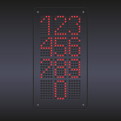 Colorful red LED panel with numbers.