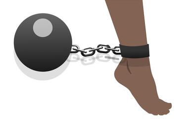female legs in chains